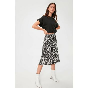 Black Zebra Patterned Knitted Skirt TWOAW20ET0622
