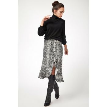 Women's Gray Snake Patterned Waist Elastic Viscose Skirt BH00191