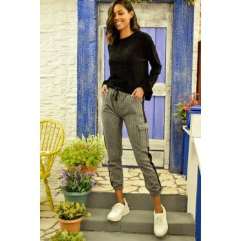 Women's Gray Stamp Cargo Pants ALC-Y2993