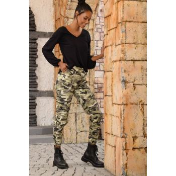 Women Khaki Cargo Pocket Pants ALC-Y2976