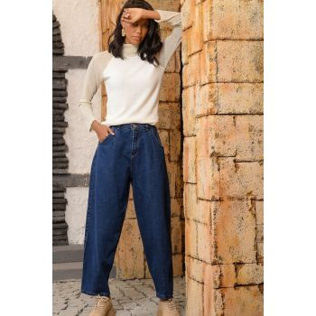 Women Navy Blue High Waist Slouchy Jean Pants ALC-Y2946