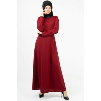 Women's Burgundy Bird's Eye Belted Long Dress 3688/145