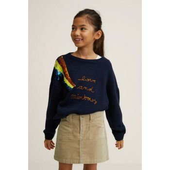Navy Blue Girls Sweaters 33045017