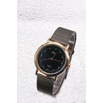 Gold Color Case Anthracite Color Wicker Watch Women's Watch 8699000096469
