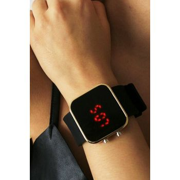 Gold Color Case Detailed Black Silicone Watch Digital Unisex Watch 8699000096957