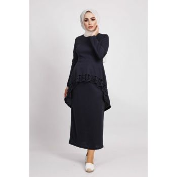 Women's Navy Blue Laser Cutting Double Combination Suit 01918YBTKM03026
