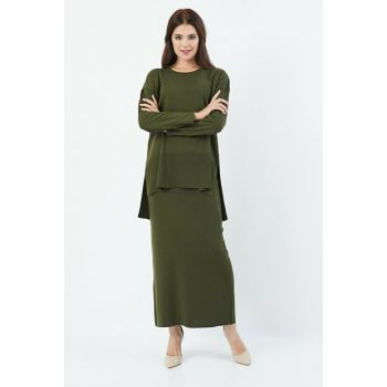 Women's Khaki Sweater Skirt Set 4146