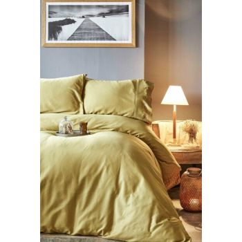 Infinity Mustard Satin King Size Duvet Cover Set 200.54.13.0017