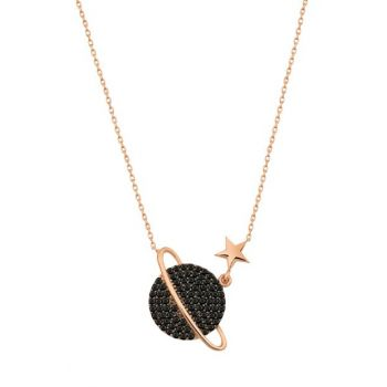 Black; Stony Planet Necklace Rose Gold Plated 925 Sterling Silver Women Necklace UVPS100184