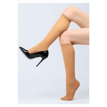 Women's Beige Over Knee Socks Slim from 20 to 10 Pack TRNT40123