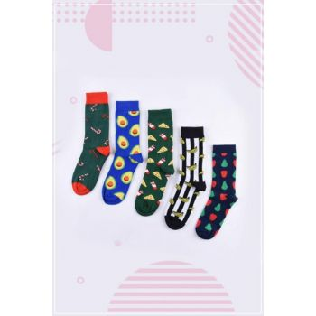 Unisex Multi Color Dishes And Fruits Colorful Socks Set 8690342019845