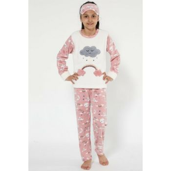 Girl's Ecru - Salmon Well Soft Pajama Set 4524