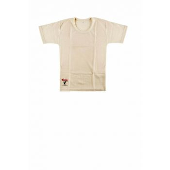 Girl Kids Cream Wool Short Sleeve Undershirt ELF568HAS500KCCM
