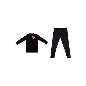 Girl Kids Black Thermal Suit ELF568TUT08350836T