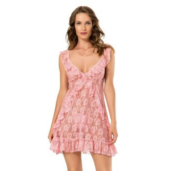 Women's Salmon Ruched Nightgown Set 2203