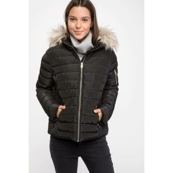 Women's Artificial Fur Detail Hooded Inflatable Coat I8661AZ.18WN.BK27