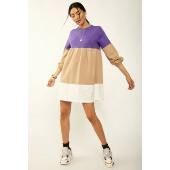 Women Purple Block Piece Dress DD00344