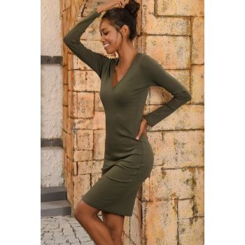 Women Khaki V Neck Sweater Dress ALC-015-297-SE