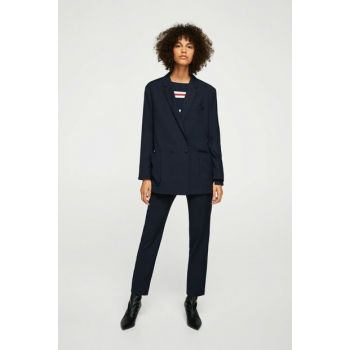 Women Navy Blue Unlined Draped Blazer Jacket 11033733