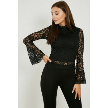 Long Sleeve Lace Blouse with Flywheel - BLACK 20KBL262K111