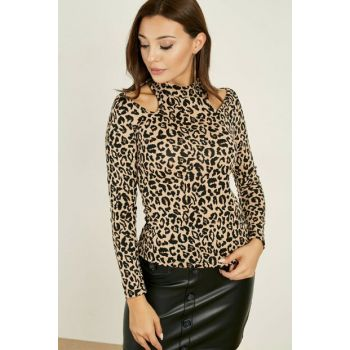 Long Sleeve Blouse with Window - Leopard 20KBL562K114