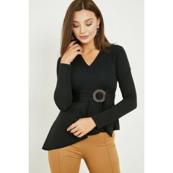 Asymmetrical Double Breasted Blouse with Buckle - BLACK 20KBL714K109