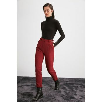 Burgundy Solid Color Belt Detailed Trousers TWOAW20PL0540