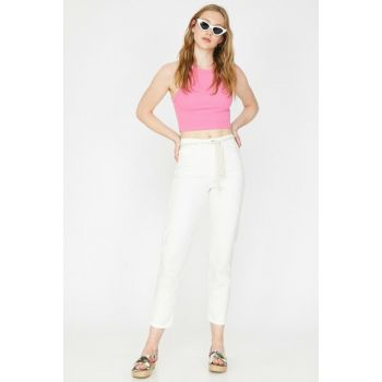 Women's White Casual Cut High Waist Lightweight Narrow Hem Trousers Pants 9YAK47243MD