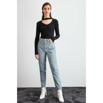 Gray High Waist Mom Jeans TWOAW20JE0380