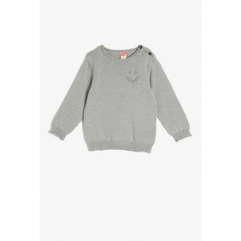 Gray Button Detailed Sweater 0KMB98840OT