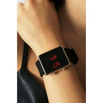 Gold Color Case Detailed Black Silicone Watch Digital Unisex Watch 8699000096971