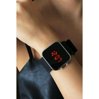 Silver Color Case Detailed Black Silicone Watch Digital Unisex Watch 8699000096940