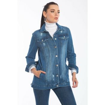 Women's Jeans Blue Pockets Buttoned Denim Jacket 21-5009