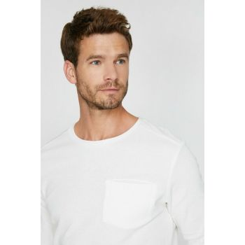 Men's Ecru Pocket Detailed T-Shirt 0KAM14074OK