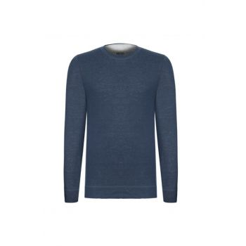 Men's Navy Crew Neck Long Sleeve T-Shirt 357485