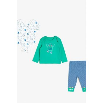 Blue Baby Boy Printed Bodysuit Set 0KNB14265OK