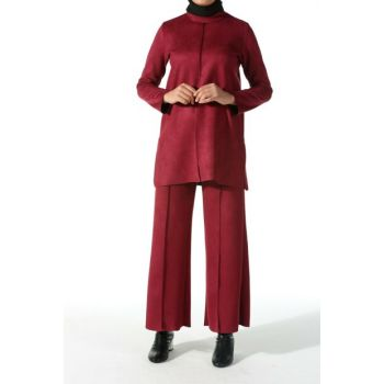 Women's Burgundy Trousers Suede Suit TK80170