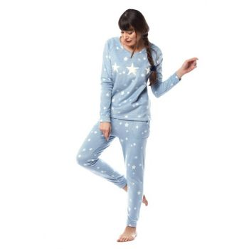 Women's Blue Star Fleece Pajama Set W1954