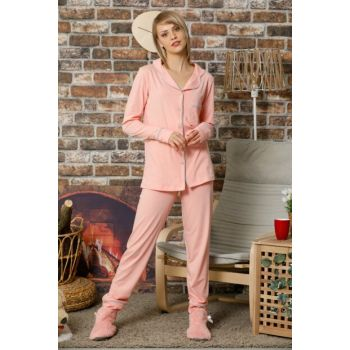 Women's Salmon Buttoned Long Sleeve Cotton Lycra Sleepwear Suit 2265S