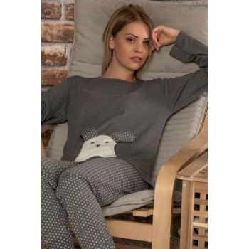 Women's Anthracite Cotton Welsoft Embroidered Long Sleeve Interlock Sleepwear Suit 22022