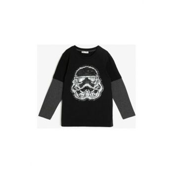 Black Kids Sequins Detailed T-Shirt 0KKB16268OK