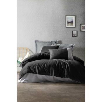 New Plain Ranforce Single Duvet Cover Set Black Gray 1184000060051