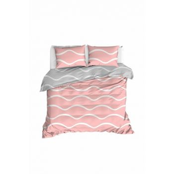100% Natural Cotton Double Duvet Cover Set Novia Pink Ep-020263