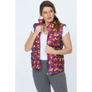 Women's Purple_Flower Floral Pattern Zippered Quilted Vest TB20KB220845