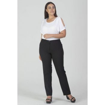 Women's Black Pocket Detailed Striped Fabric Trousers 65N11729