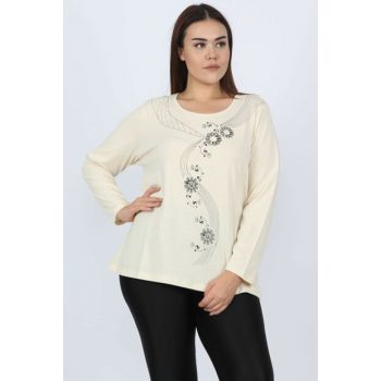 Women's Beige Cotton Fabric Printed Blouse 65N13208