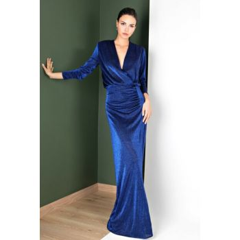 Women's Blue Eleanora Wraped Evening Dress 60096691