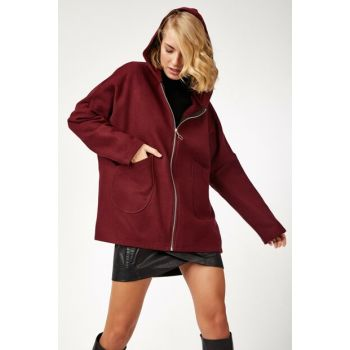 Women Burgundy Hooded Stamp Poncho Coat BL00052