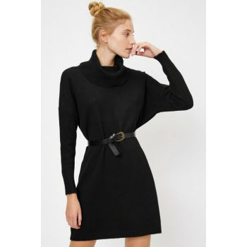 Women's Black Turtleneck Sweater 0KAL98619UT