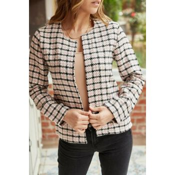 Women Ecru & Black Crowbar Patterned Jacket 9KXK4-42234-52